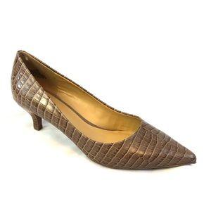 Nine West Leather Snakeskin Pointed Toe Heels